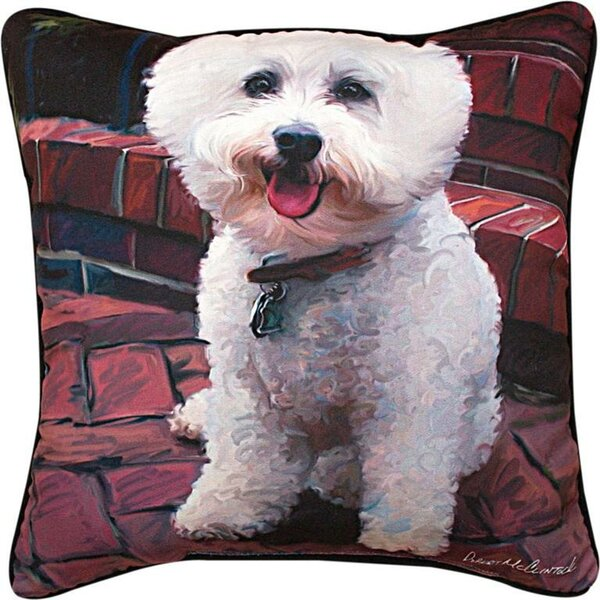 Glam Dog Bichon Throw Pillow by Manual Woodworkers & Weavers