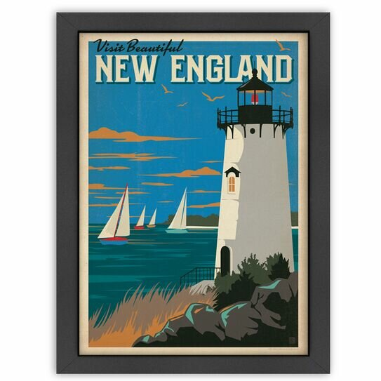 New England Lighthouse Framed Graphic Art in Charcoal by Americanflat