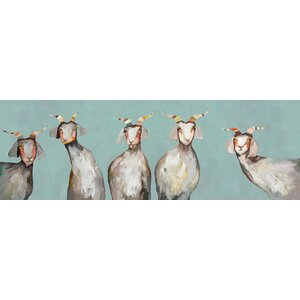'5 Goats on Soft Blue' by Eli Halpin Print of Painting on Canvas by GreenBox Art