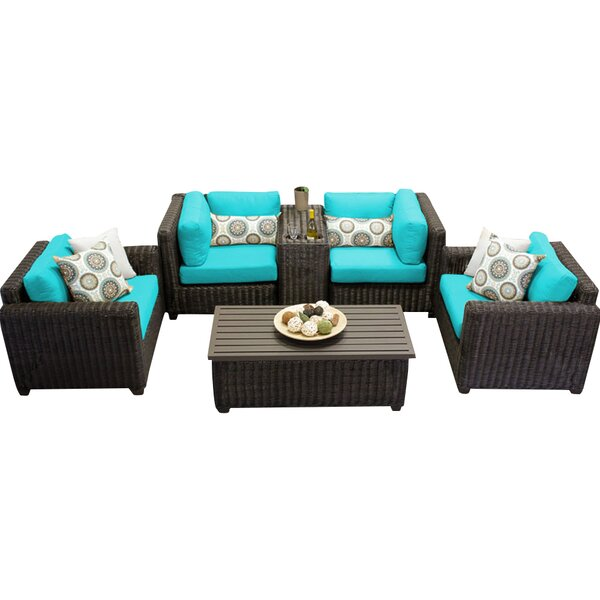 Fairfield 6 Piece Rattan Sectional Seating Group with Cushions by Sol 72 Outdoor