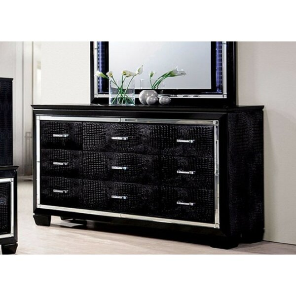 Gallegos Crocodile Textured 9 Drawer Standard Dresser by Everly Quinn
