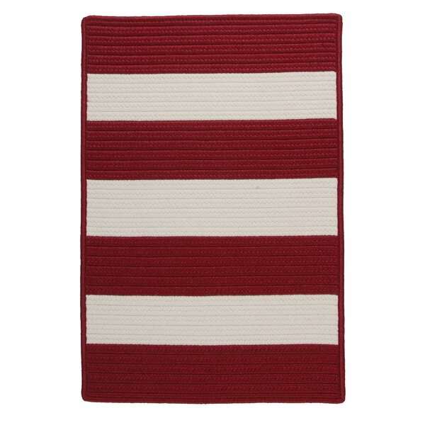 Ahern Striped Braided Red Indoor / Outdoor Area Rug