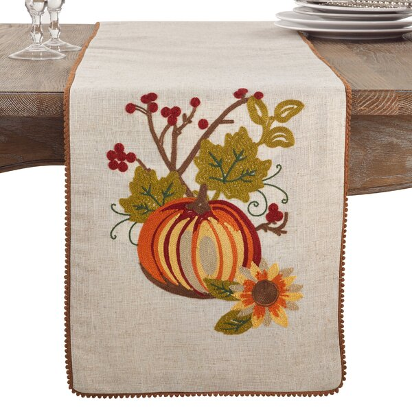 Litwin Embroidered Pumpkin Flower Fall Thanksgiving Table Runner by August Grove