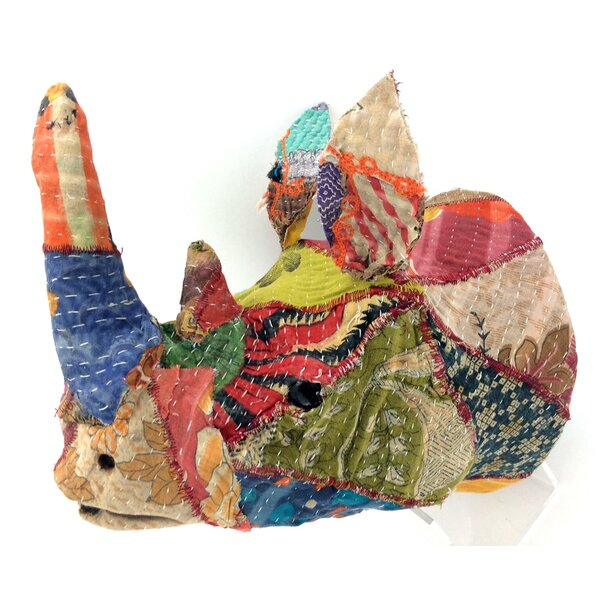 Vintage Sari Fabric Rhino Head Wall Décor by KMP GIFTS