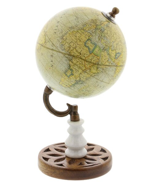 Hand-crafted Metal Marble Globe by World Menagerie