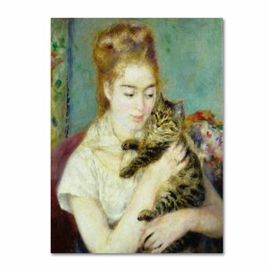 Woman with a Cat 1875 by Pierre-Auguste Renoir Painting Print on Wrapped Canvas by Trademark Fine Art