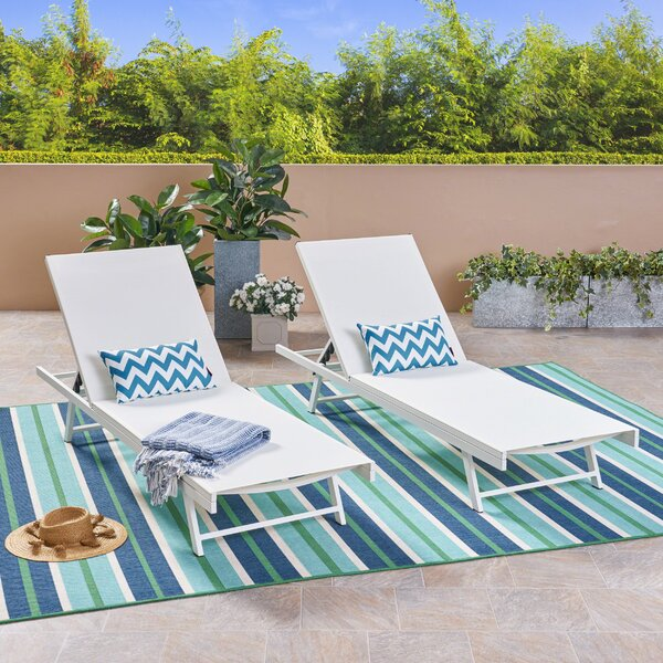 Emrich Outdoor Double Reclining Chaise Lounge (Set of 2) by Orren Ellis