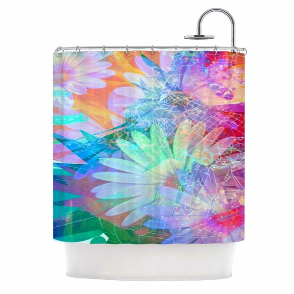 AlyZen Moonshadow Floral Meld Abstract Digital Shower Curtain by East Urban Home