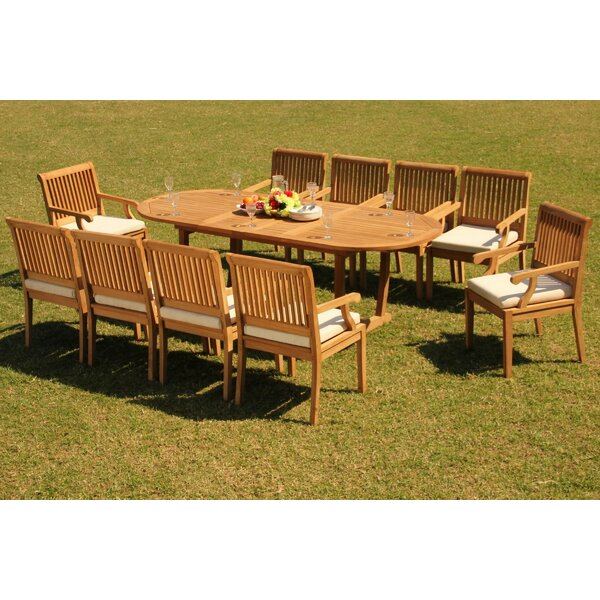 Garett 11 Piece Teak Dining Set by Rosecliff Heights