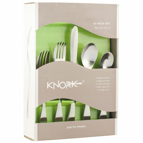20 Piece Flatware Set, Service for 4 by Knork
