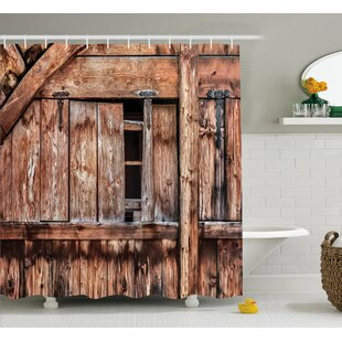 Rustic Oak Abandoned Barn Door Shower Curtain