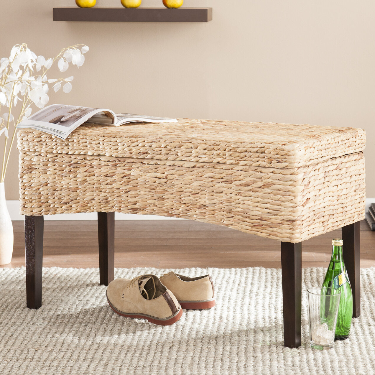Enjoyable Sunni Hyacinth Storage Entryway Bench Gmtry Best Dining Table And Chair Ideas Images Gmtryco
