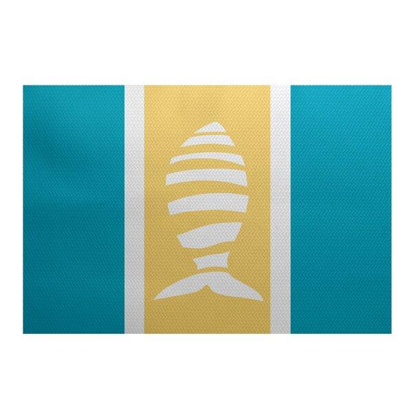 Golden Gate Blue/Yellow/Beige Indoor/Outdoor Area Rug by Beachcrest Home