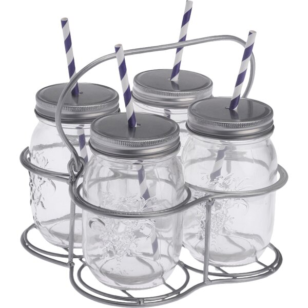 5 Piece Mason Drinking Jar Set by Boston International
