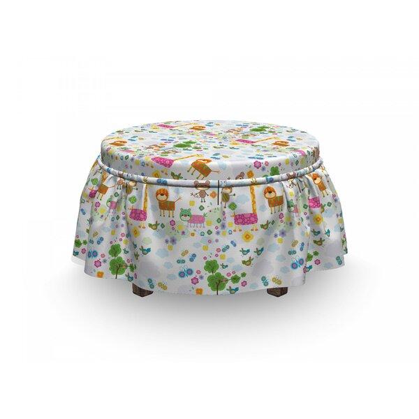 Nursery Floral Funny Animals 2 Piece Box Cushion Ottoman Slipcover Set By East Urban Home