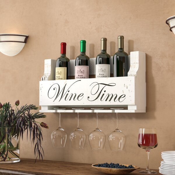 Truluck Wine Time 4 Bottle Wall Mounted Wine Bottle And Glass Rack By Winston Porter
