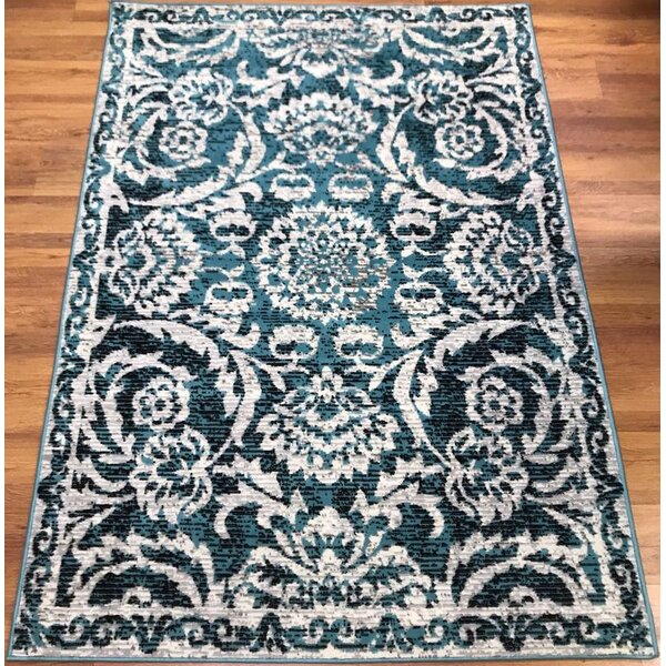 Dunlin Floral Blue/Cream Area Rug by Astoria Grand