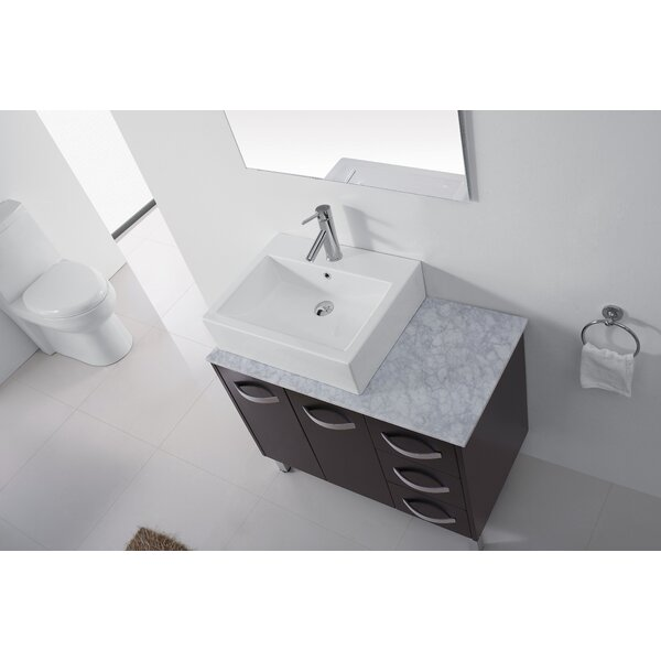 Canadice 37 Single Bathroom Vanity Set with White Marble Top and Mirror by Zipcode Design