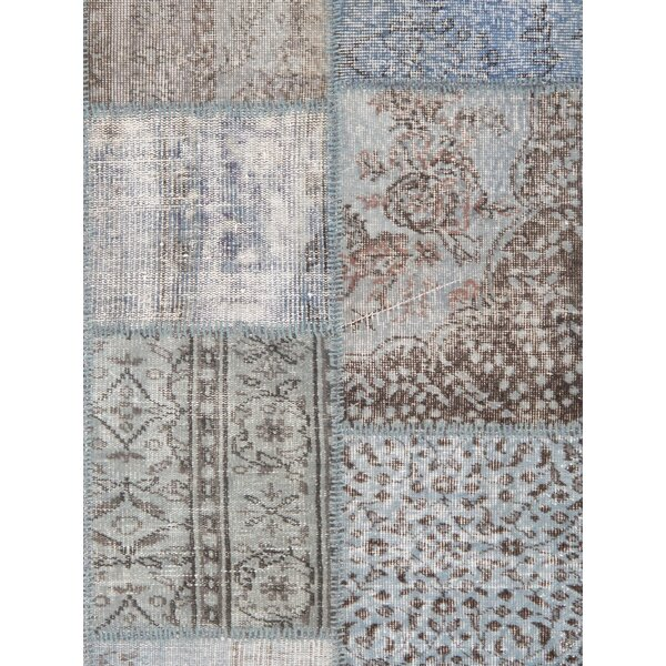 Patchwork Wool Hand-Knotted Blue/Brown Area Rug by Pasargad