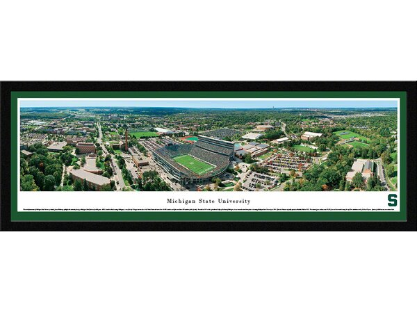 NCAA Michigan State University - Aerial by James Blakeway Framed Photographic Print by Blakeway Worldwide Panoramas, Inc