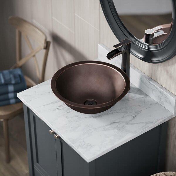 Metal Circular Dual Mount Bathroom Sink With Faucet