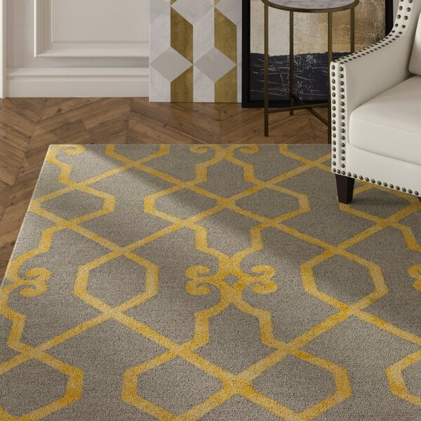 Sandhill Hand-Tufted Light Gray/Yellow Area Rug by Mercer41