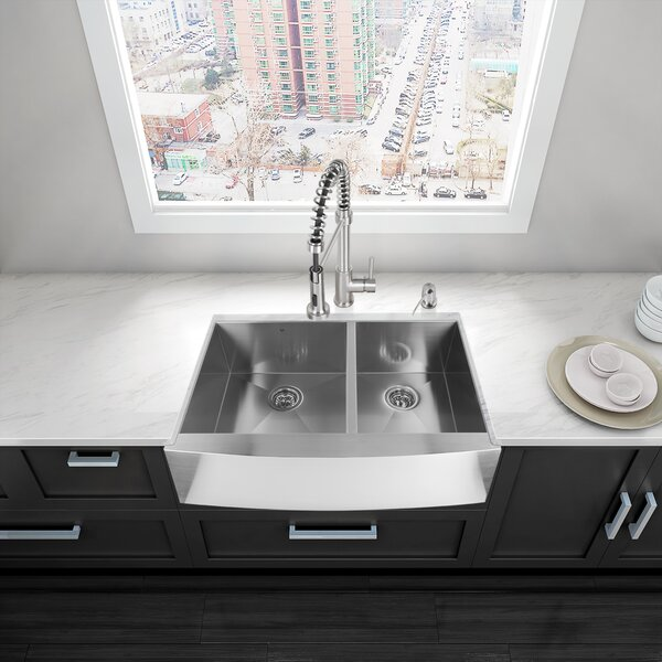 Alma 33 inch Farmhouse Apron 60/40 Double Bowl 16 Gauge Stainless Steel Kitchen Sink by VIGO