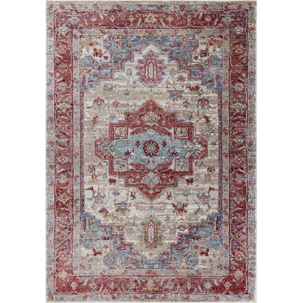 Vermillion Red/Gray Area Rug by Charlton Home