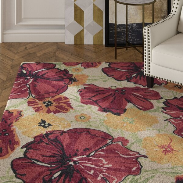 Whitby Hand-Tufted Wool Ivory/Red Area Rug by House of Hampton