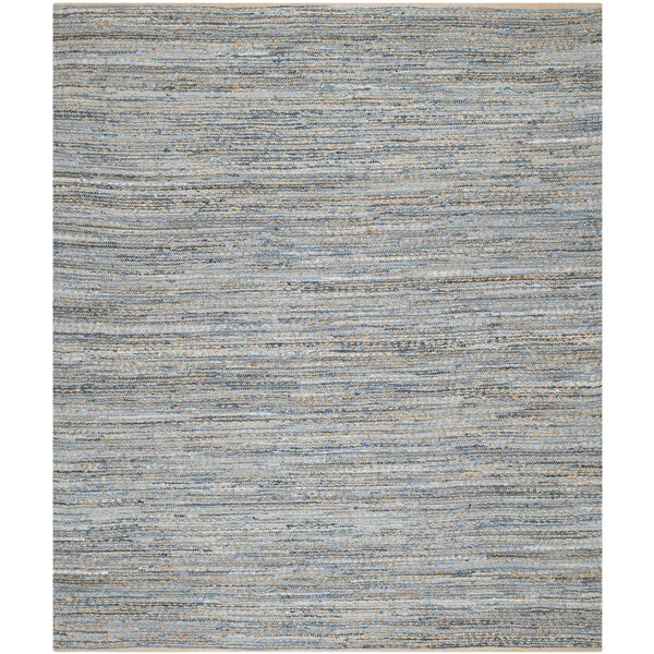 Arria Hand-Woven Natural/Blue Jute Area Rug by Highland Dunes