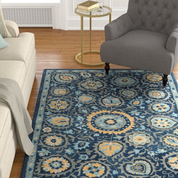 Dipietro Hand-Tufted Wool Blue Area Rug by Charlton Home