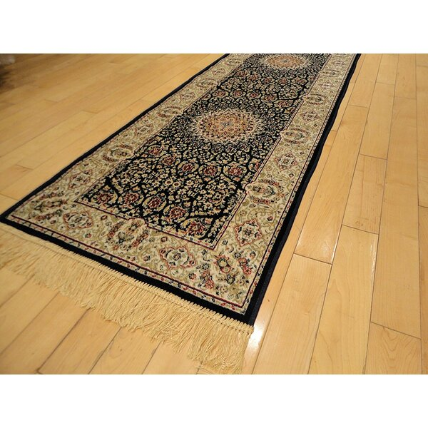 Shanelle Living Room Hand-Knotted Silk Navy/Beige Area Rug by Astoria Grand