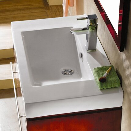 Mission Ceramic 24 Wall Mount Bathroom Sink with Overflow by Kingston Brass