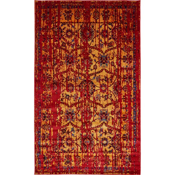 Figueroa Gold/Red Area Rug by World Menagerie