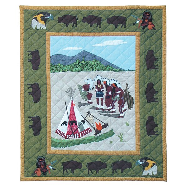 Indian Dancers Cotton Throw Quilt by Patch Magic
