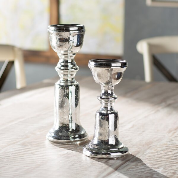 2 Piece Silver Candlestick Set by Lark Manor