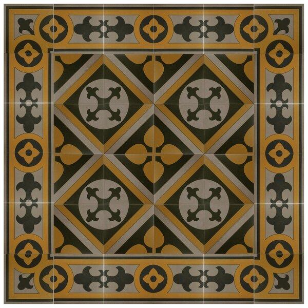 Cementa 7 x 7 Ceramic Glazed Decorative Murals Tile in Golden Yellow/Gray/Black by EliteTile