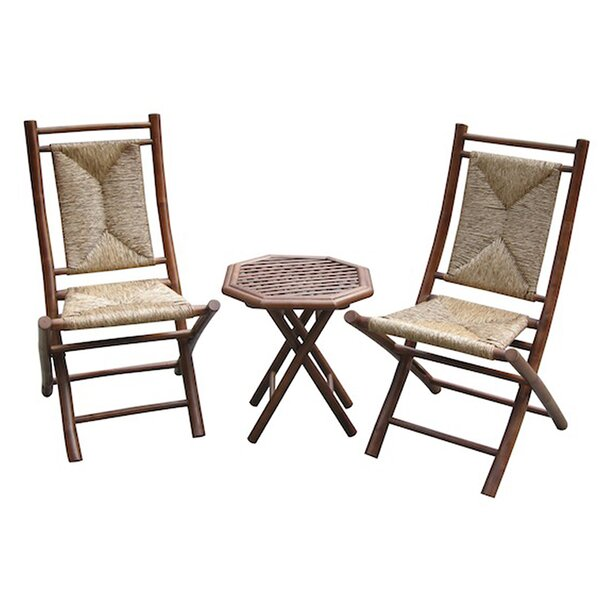 Erkson Bamboo Outdoor Conversation 3 Piece 2 Person Seating Group by Bay Isle Home