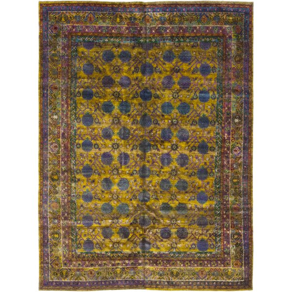 One-of-a-Kind DeFreitas Hand-Knotted Silk Yellow Indoor Area Rug by Bloomsbury Market