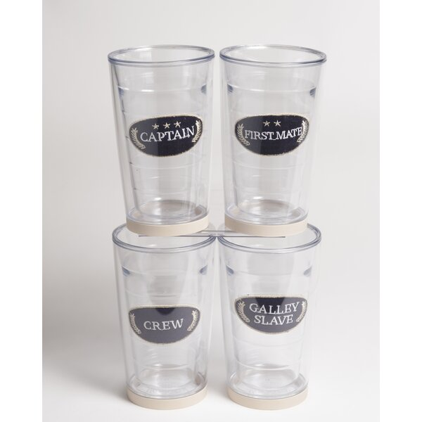 Newport Captain Non-skid 16 oz. Plastic Every Day Glass (Set of 4) by Galleyware Company