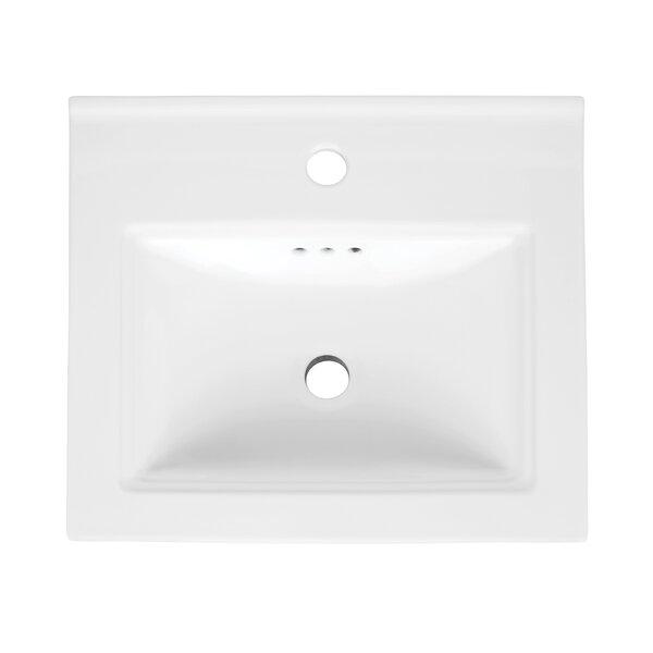 Verge Ceramic Rectangular Drop-In Bathroom Sink with Overflow by Ronbow