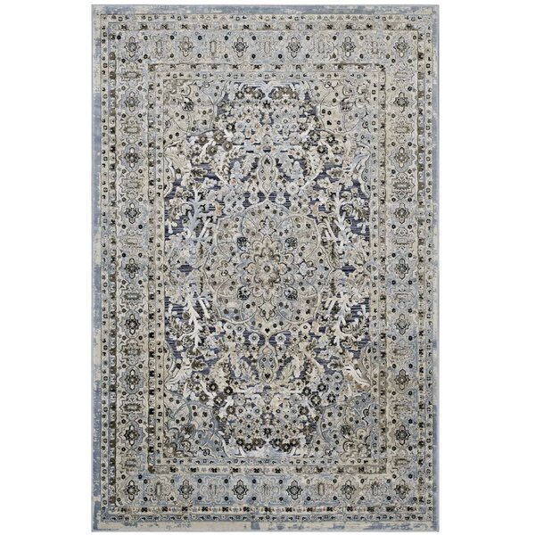 Prevost Ornate Vintage Floral Turkish Blue/Cream Area Rug by Astoria Grand