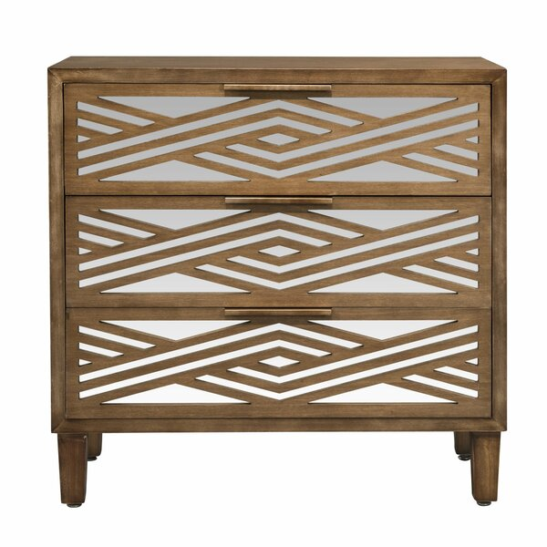 Berenice 3 Drawer Mirrored Accent Chest by Wrought Studio Wrought Studio