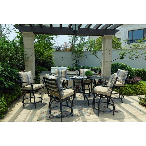 Celestine High Swivel 9 Piece Dining Set with Cushions by Alcott Hill