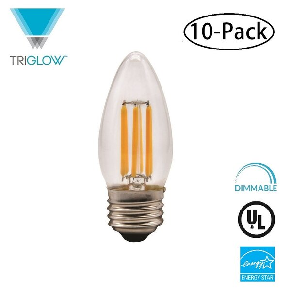 60W Equivalent E26 LED Candle Light Bulb (Set of 10) by TriGlow