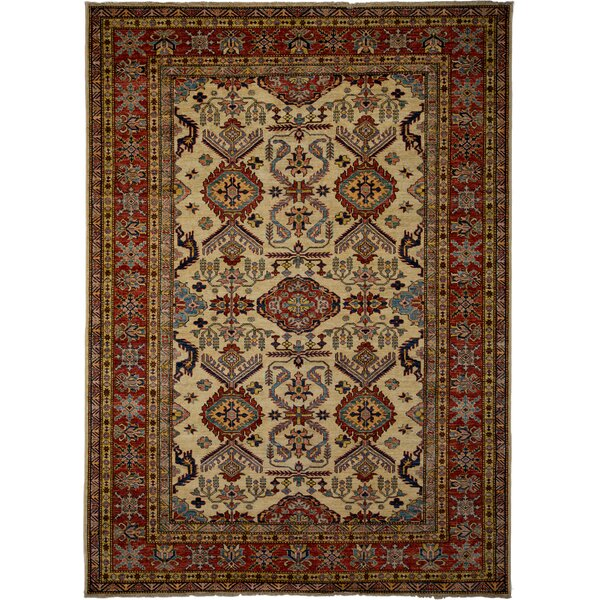 One-of-a-Kind Kazak Hand-Knotted Ivory Area Rug by Darya Rugs