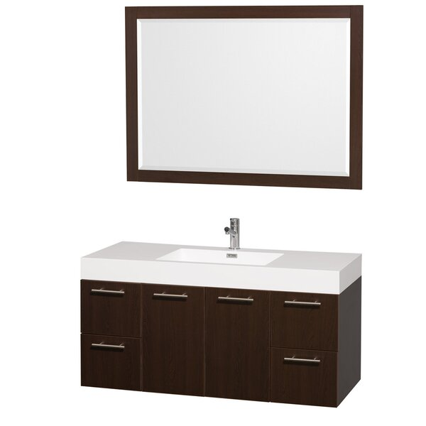 Amare 47 Single Espresso Bathroom Vanity Set with Mirror by Wyndham Collection