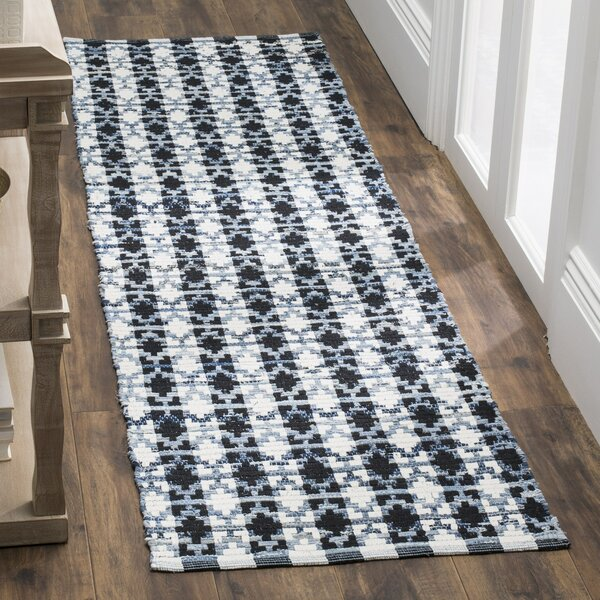 Saleem Hand-Woven Ivory Blue/Black Area Rug by Bungalow Rose