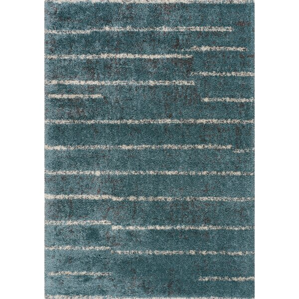 Lynnwood Uneven Banded Blue/Cream Area Rug by Red Barrel Studio
