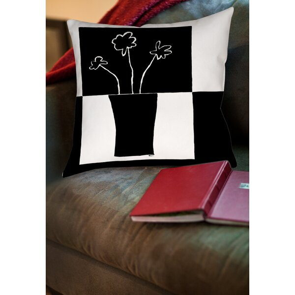 Minimalist Flower in Vase 2 Printed Throw Pillow by Manual Woodworkers & Weavers